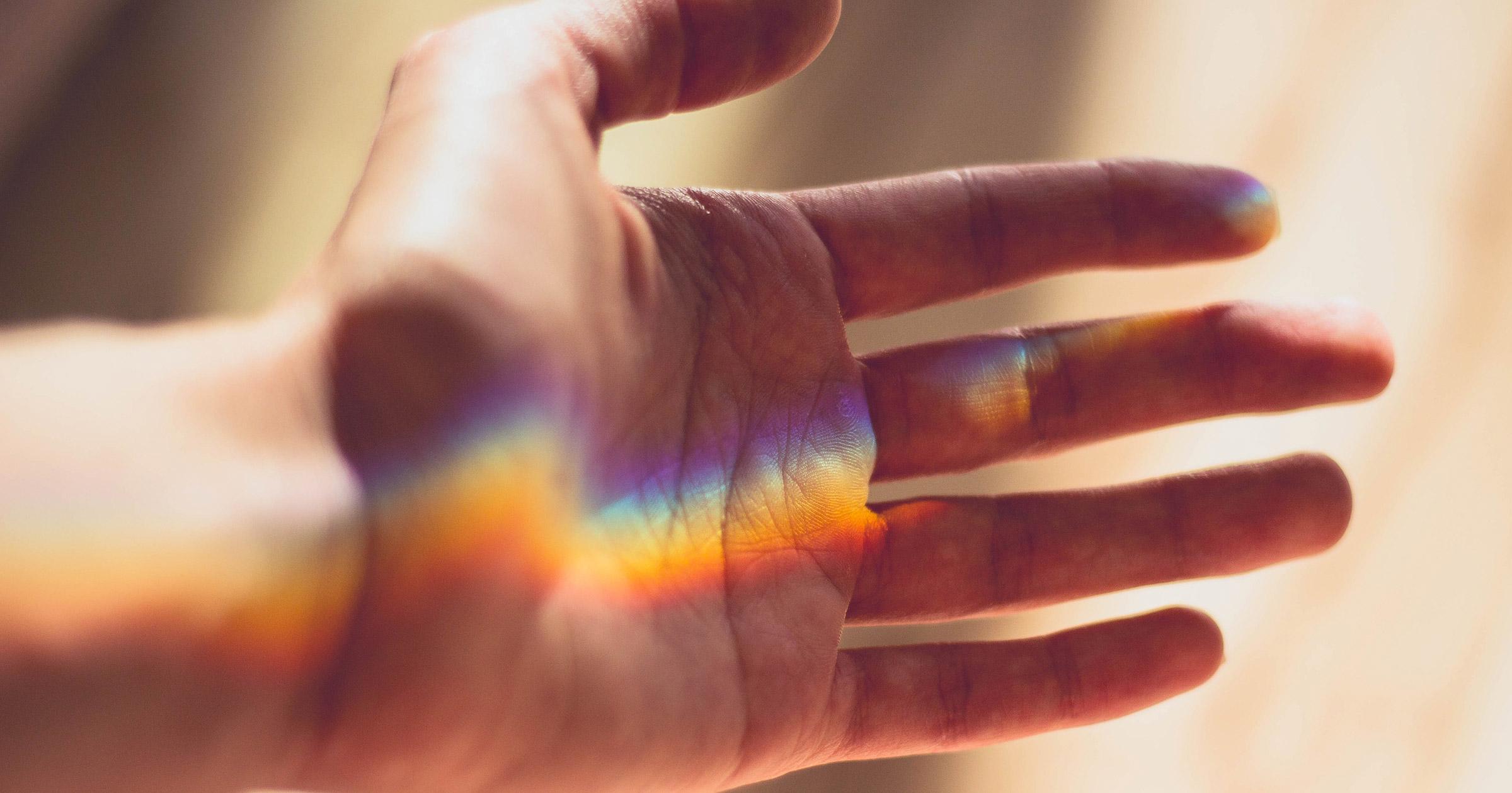 Luz Arco-Íris de Mão